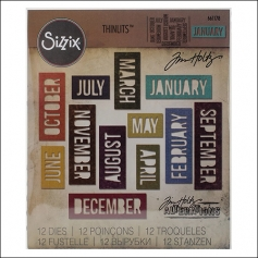 Sizzix Tim Holtz Alterations Die Thinlits Calendar Words Block