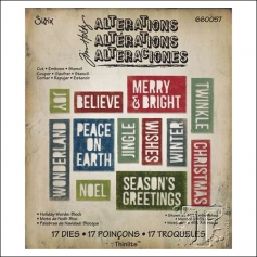 Sizzix Tim Holtz Alterations Die Thinlits Holiday Words Block