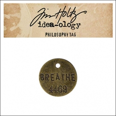 Idea-ology Tim Holtz Metal Philosophy Tag Breathe