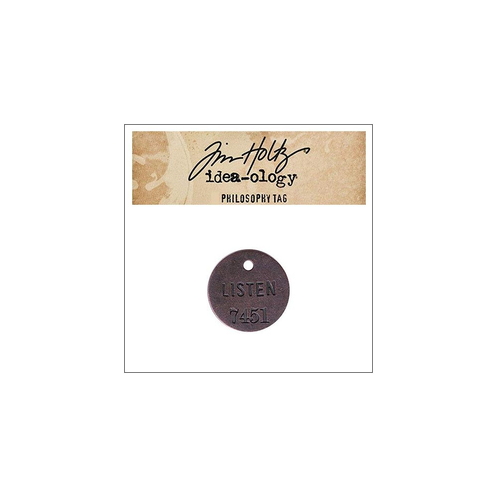 Idea-ology Tim Holtz Metal Philosophy Tag Listen