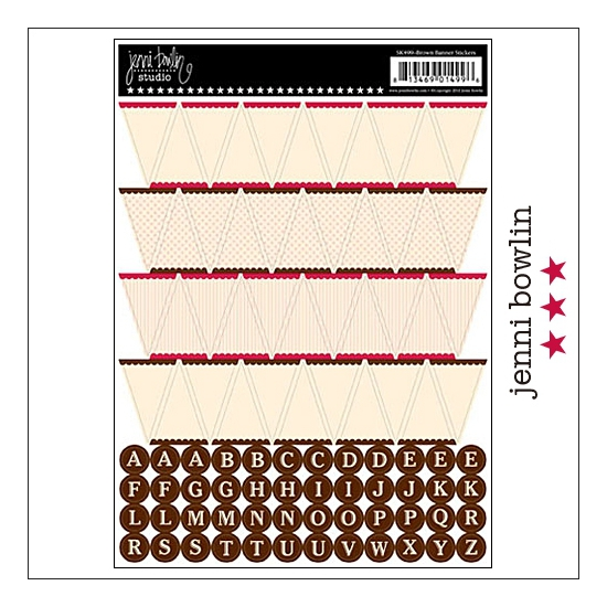 Jenni Bowlin Cardstock Stickers Sheet Brown Banner