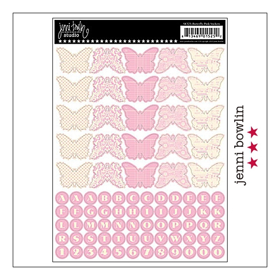 Jenni Bowlin Cardstock Stickers Sheet Pink Butterfly