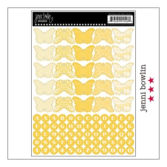 Jenni Bowlin Cardstock Stickers Sheet Yellow Butterfly