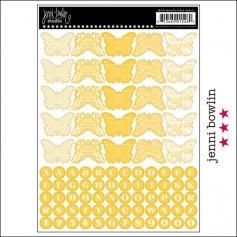 Jenni Bowlin Cardstock Stickers Sheet Yellow Butterfly