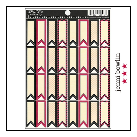 Jenni Bowlin Cardstock Stickers Flag Banner Red and Black