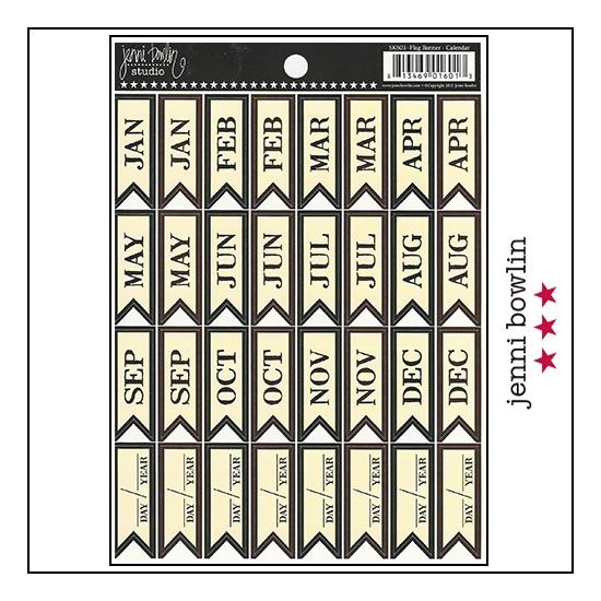 Jenni Bowlin Cardstock Stickers Flag Banner Calendar
