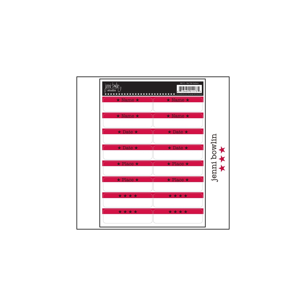 Jenni Bowlin Cardstock Stickers Red Tabs
