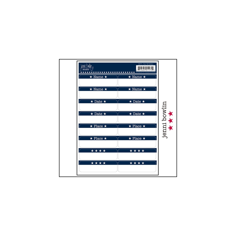 Jenni Bowlin Cardstock Stickers Navy Tabs