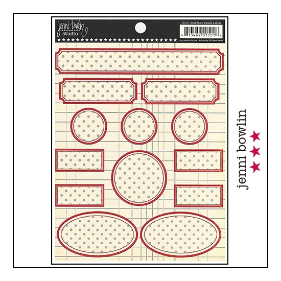Jenni Bowlin Cardstock Stickers Dotted Labels Red and Black