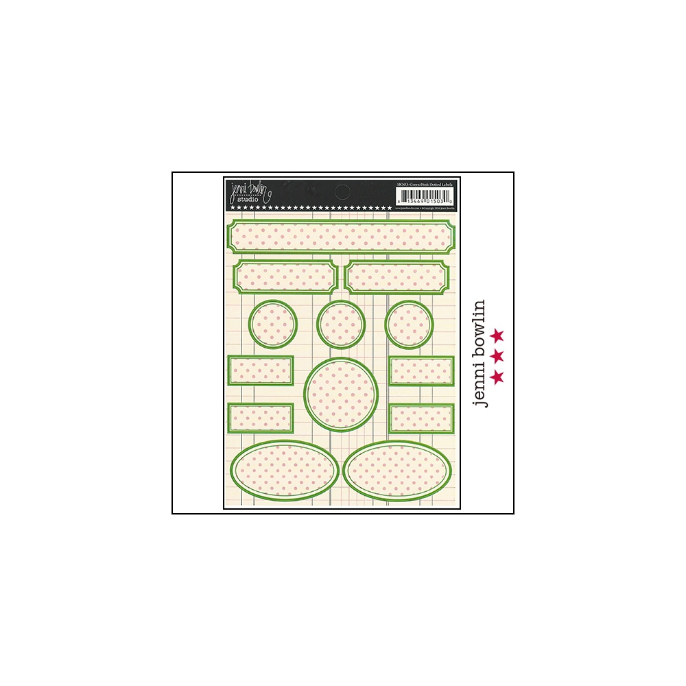 Jenni Bowlin Cardstock Stickers Dotted Labels Green and Pink