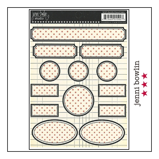Jenni Bowlin Cardstock Stickers Dotted Labels Black and Red