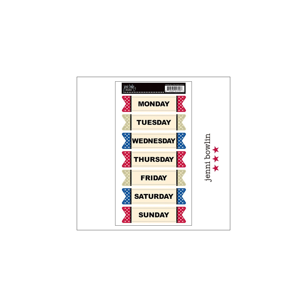Jenni Bowlin Cardstock Stickers Days of the Week