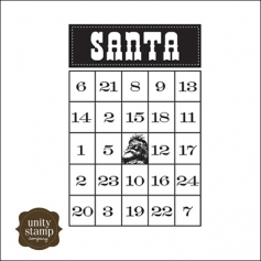 Unity Stamp Company Itty Bitty Red Rubber Stamp Mounted On Cling Foam Santa Bingo by Simple Stories
