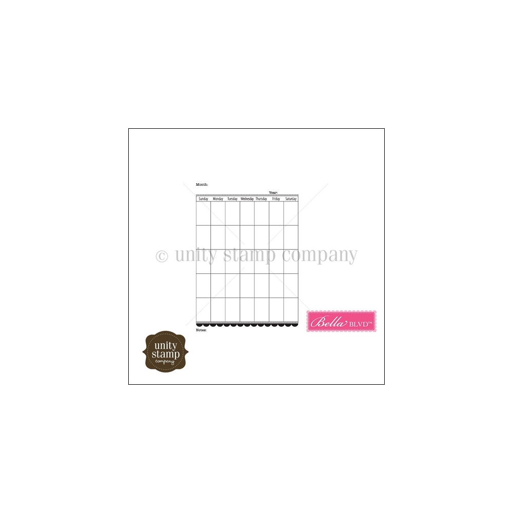 Unity Stamp Company Itty Bitty Red Rubber Stamp Mounted On Cling Foam Calendar Month by Bella Blvd