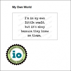 Impression Obsession Wood Mounted Stamp My Own World D17010