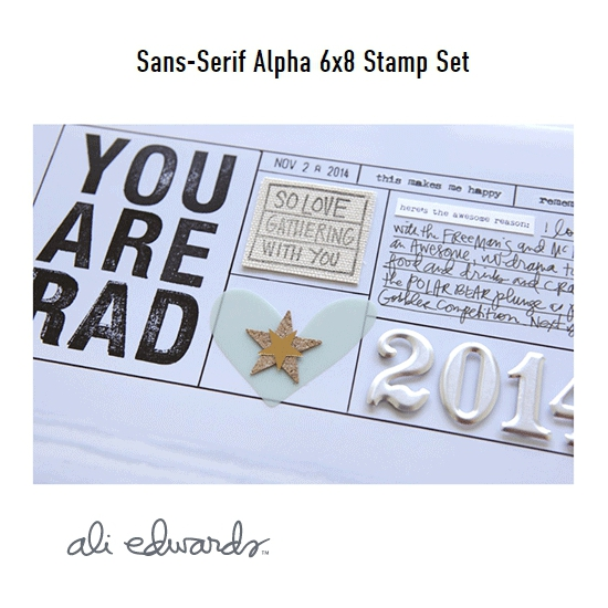 Ali Edwards Sans-Serif Alpha 6 x 8 Clear Stamps