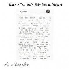 Ali Edwards Week In The Life Phrase Stickers White