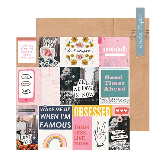 Crate Paper Patterned Paper Sheet Collage All Heart Collection