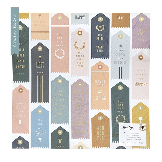 Crate Paper Patterned Paper Sheet Specialty Paper Trophies Gold Foil Heritage Collection by Maggie Holmes