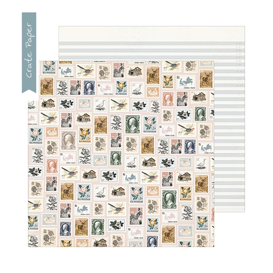 Crate Paper Patterned Paper Sheet Postmarked Heritage Collection by Maggie Holmes
