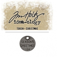 Tim Holtz Idea-ology Christmas Metal Typed Token Antique Nickel Seasons Greetings