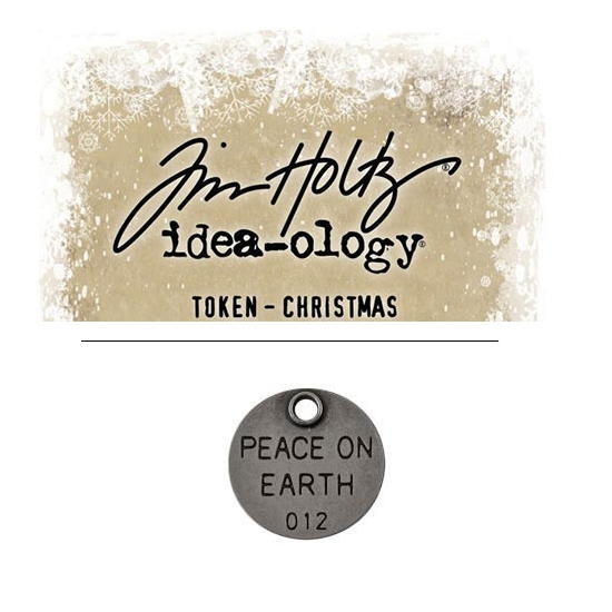 Tim Holtz Idea-ology Christmas Metal Typed Token Antique Nickel Peace on Earth