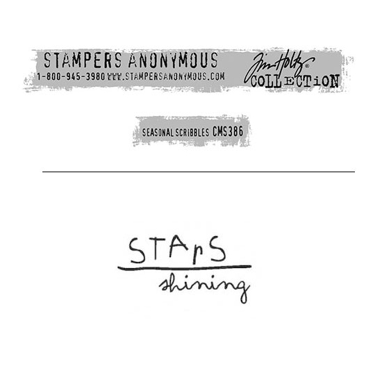 Tim Holtz Stampers Anonymous Christmas Mini Red Rubber Cling Stamp Seasonal Scribbles | Stars Shining