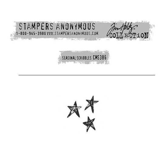 Tim Holtz Stampers Anonymous Christmas Mini Red Rubber Cling Stamp Seasonal Scribbles | Stars