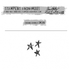 Tim Holtz Stampers Anonymous Christmas Mini Red Rubber Cling Stamp Seasonal Scribbles   Stars