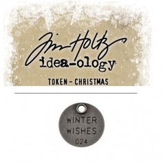 Tim Holtz Idea-ology Christmas Metal Typed Token Antique Nickel Winter Wishes
