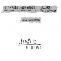 Tim Holtz Stampers Anonymous Christmas Mini Red Rubber Cling Stamp Seasonal Scribbles | Jingle all the Way