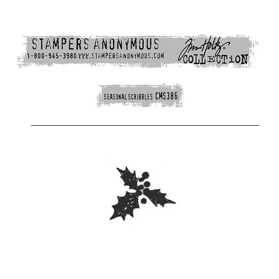 Tim Holtz Stampers Anonymous Christmas Mini Red Rubber Cling Stamp Seasonal Scribbles | Holly Berry