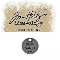 Tim Holtz Idea-ology Christmas Metal Typed Token Antique Nickel Dear Santa