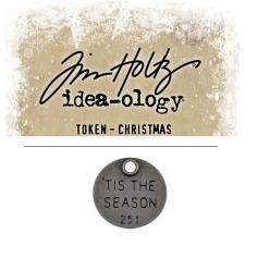 Tim Holtz Idea-ology Christmas Metal Typed Token Antique Nickel 'Tis the Season