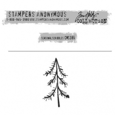 Tim Holtz Stampers Anonymous Christmas Mini Red Rubber Cling Stamp Seasonal Scribbles | Pine Tree