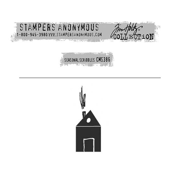 Tim Holtz Stampers Anonymous Christmas Mini Red Rubber Cling Stamp Seasonal Scribbles | House