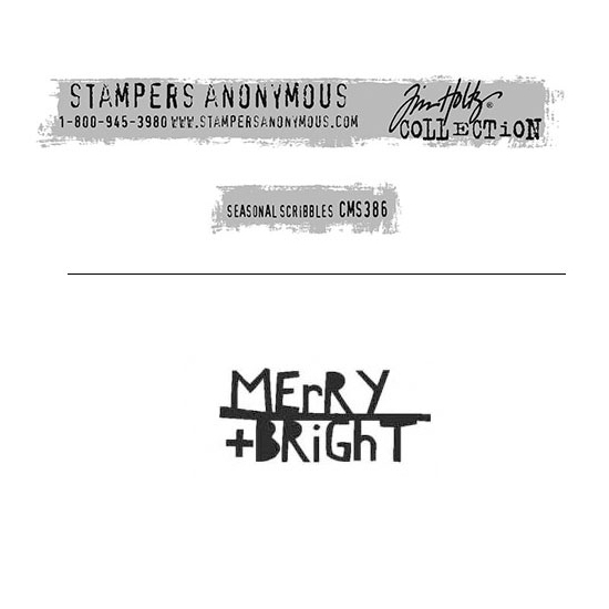 Tim Holtz Stampers Anonymous Christmas Mini Red Rubber Cling Stamp Seasonal Scribbles | Merry + Bright