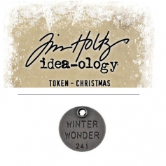 Tim Holtz Idea-ology Christmas Metal Typed Token Antique Nickel Winter Wonder