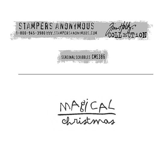 Tim Holtz Stampers Anonymous Christmas Mini Red Rubber Cling Stamp Seasonal Scribbles | Magical Christmas