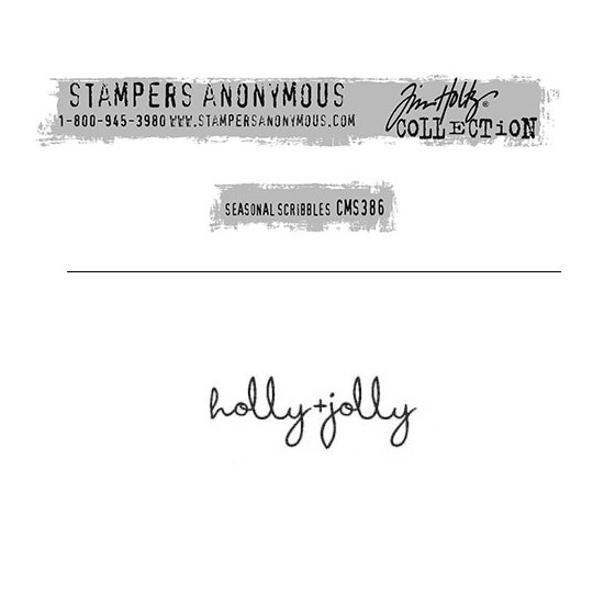Tim Holtz Stampers Anonymous Christmas Mini Red Rubber Cling Stamp Seasonal Scribbles | Holly Jolly