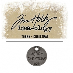Tim Holtz Idea-ology Christmas Metal Typed Token Antique Nickel Merry Christmas