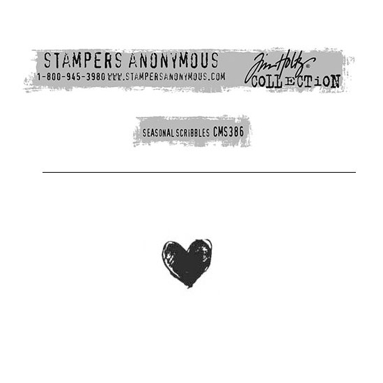 Tim Holtz Stampers Anonymous Christmas Mini Red Rubber Cling Stamp Seasonal Scribbles | Heart