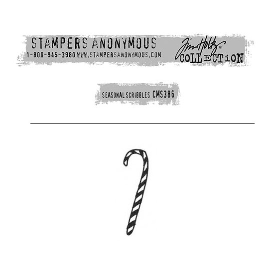 Tim Holtz Stampers Anonymous Christmas Mini Red Rubber Cling Stamp Seasonal Scribbles | Candy Cane