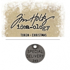 Tim Holtz Idea-ology Christmas Metal Typed Token Antique Nickel Special Delivery