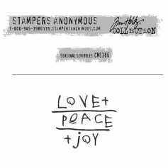 Tim Holtz Stampers Anonymous Christmas Mini Red Rubber Cling Stamp Seasonal Scribbles | Love Peace Joy