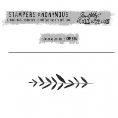 Tim Holtz Stampers Anonymous Christmas Mini Red Rubber Cling Stamp Seasonal Scribbles | Branch