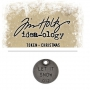 Tim Holtz Idea-ology Christmas Metal Typed Token Antique Nickel Let it Snow