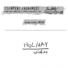 Tim Holtz Stampers Anonymous Christmas Mini Red Rubber Cling Stamp Seasonal Scribbles | Holiday Wishes