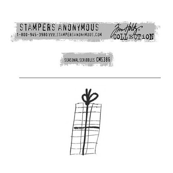 Tim Holtz Stampers Anonymous Christmas Mini Red Rubber Cling Stamp Seasonal Scribbles | Present