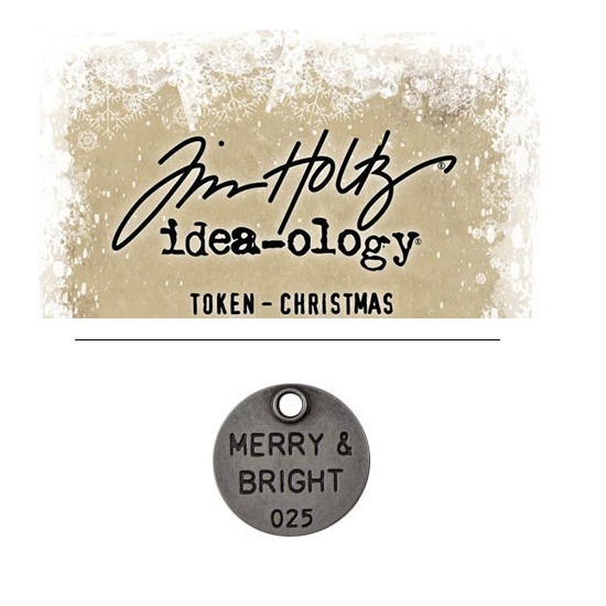 Tim Holtz Idea-ology Christmas Metal Typed Token Antique Nickel Merry and Bright